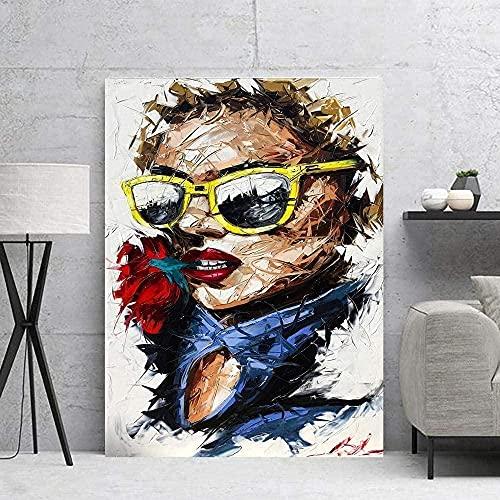 Rompecabezas 1000 piezas Cool Lady Picture Gafas de sol Regalo Pintura moderna Rompecabezas 1000 piezas Juguete educativo de descompresión intelectual 50x75cm