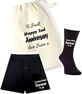 pretty little customs Printed Mens Boxers/Socks Set-2 Years Down Forever to go 2nd Anniversary Cotton Gift Bag Mens Socks ...