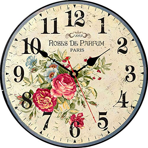 VIKMARI Vintage Blumen Stil dekorative wanduhren Holz-rundblumen wanduhr 14 inch Parfum Roses