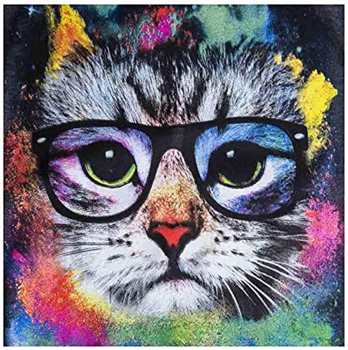 HJHJHJ Puzzles para Adultos, 1000 Pieza de Gato con Gafas, Rompecabezas, 1000 Piezas para Adultos, Juego Educativo Intelectual, Juguetes de descompresión para Adultos, 38x26cm