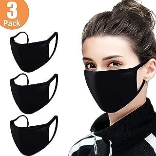 3 Pack Unisex Mouth Mask Adjustable Anti Dust Face Mask,Black Cotton Mouth Mask Muffle..