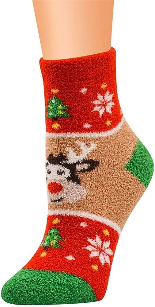 yoyorule Casual Work Business Socks Christmas Printing Coral Fleece Medium Sports Socks
