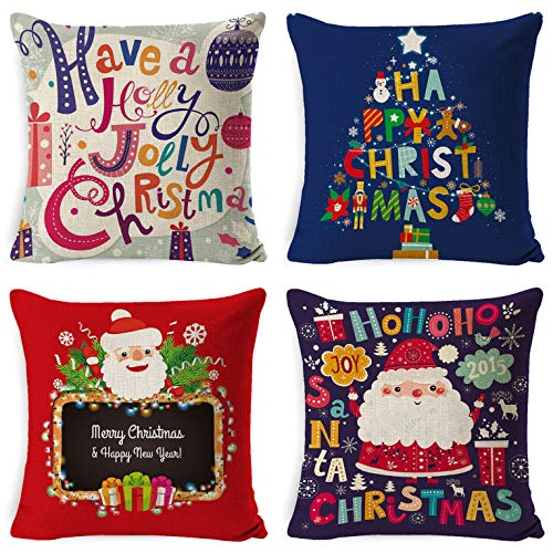 UMIPUBO Set of 4 Christmas Pillow Cover Cushion Cover...