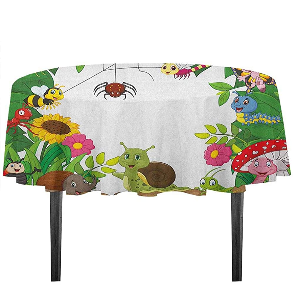 kangkaishi Nursery Waterproof Anti-Wrinkle no Pollution Happy Little Butterflies Bugs Insects Comic Caterpillars Dragonflies Spider Web Outdoor Picnic D55.11 Inch Multicolor
