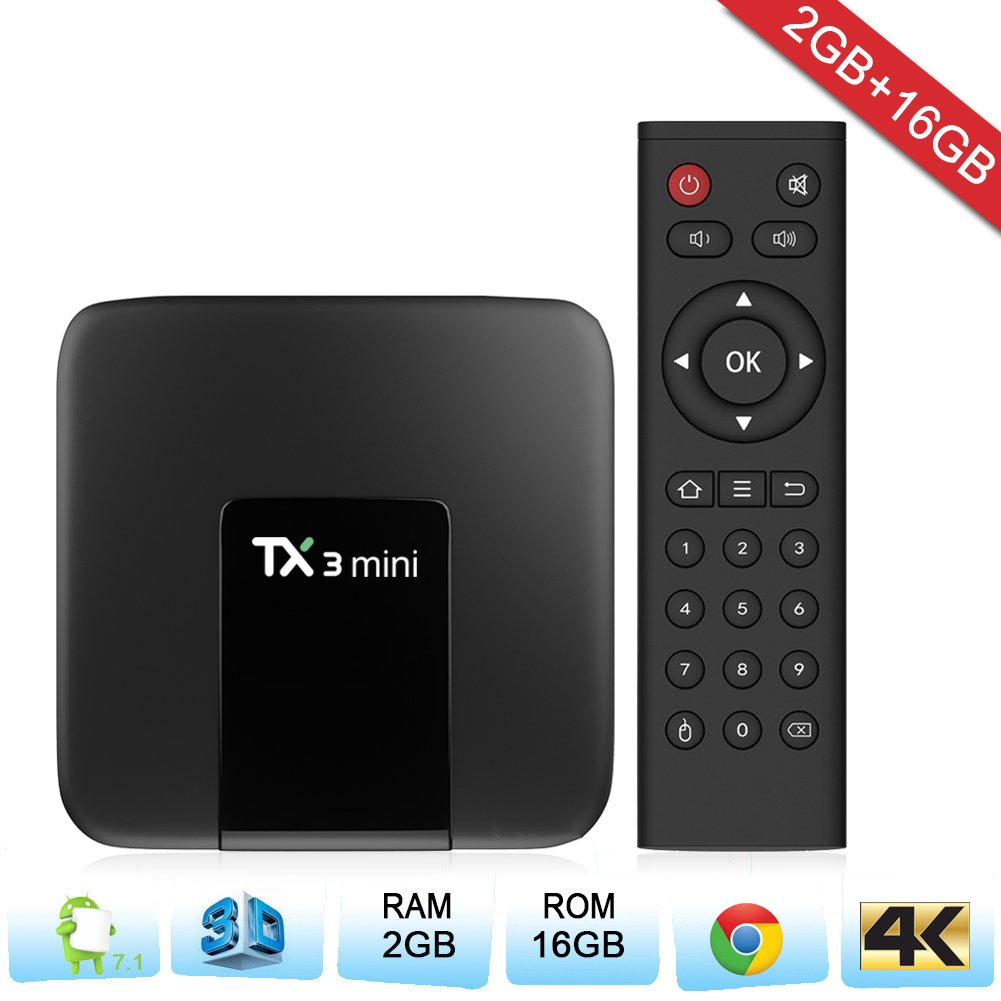 Zenoplige TX3 Mini Android TV Box Android 7.1 Marshmallow 2G 16G 4K H.265 64BIT DLNA WiFi LAN Smart TV Box: Amazon.es: Electrónica