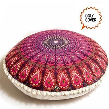 Bohemian Decor Floor Cushion Cover - 30 inches Round Floor Pillowcase - Hand Printed Organic Cotton by Mandala Life ART ( Purple Peacock)