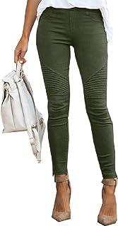 GAGA Womens Pants Solid Color Stretchy High Waist Casual Slim Pants Jog Pants Army Green Large