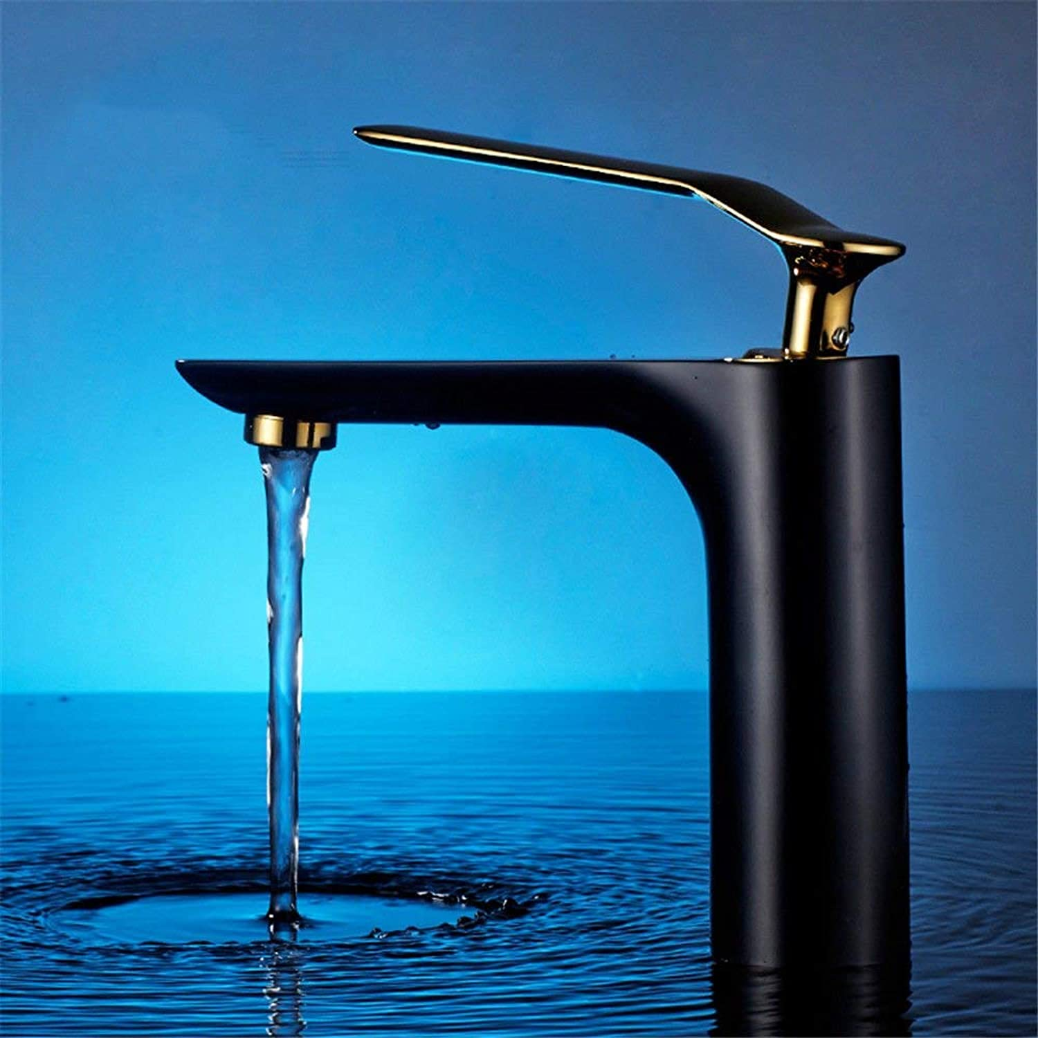 FERZA home Sink Mixer Tap Bathroom Kitchen Basin Water Tap Leakproof Save Water Bathrooms Plated Basin Mixer Single Lever Single Hole Hot And Cold Water D (color   D)