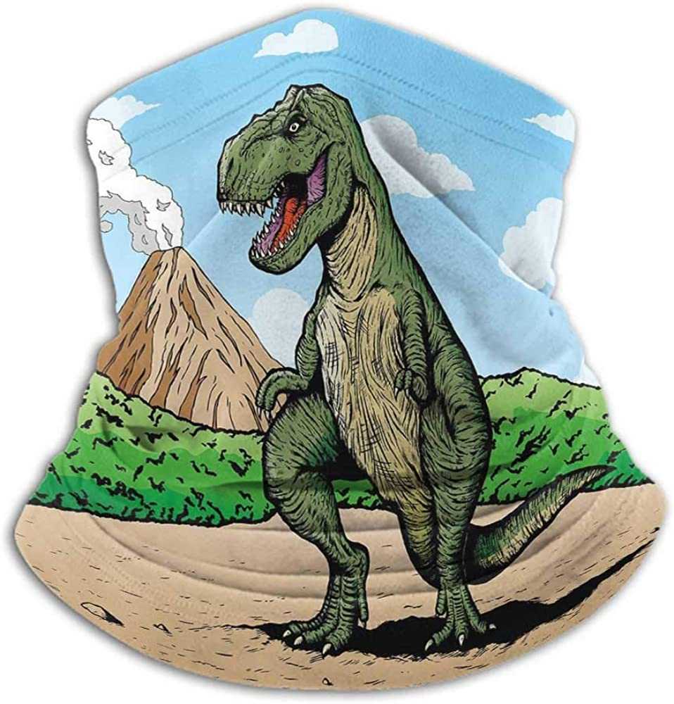 Bandanas For Men Dinosaur Neck Gaiter Sunblock Face Scarf Giant Lizard T Rex on Active Volcano Untouched Jungle Backdrop Green Light Brown Light Blue