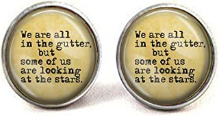 lukuhan Oscar Wilde Quote We are All in The Gutter, but Some us are Looking at The Stars Cufflinks