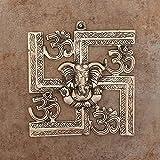 eCraftIndia Lord Ganesha on Om Swastik Metal Silver Wall Hanging