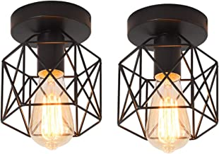 Ganeed Vintage Ceiling Light, Industrial Semi-Flush Mount Chandeliers with Metal Cage, E27 Base Ceiling Lamp Fixture for P...