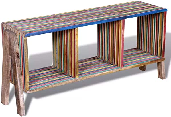 Tidyard Vintage TV Stand End Side Table With 3 Shelves Stackable Reclaimed Teak Colorful