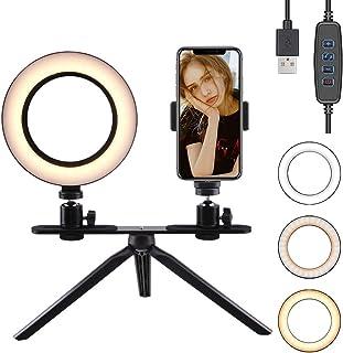 """FREESOO Luz de Anillo de 6"""" con Trípode Soporte de Escritorio Regulable Luz LED para Cámara Mesa con 3 Modos de Luz 3200k-6500k 10 Niveles de Brillo USB para Móvil Youtube Selfie Video Maquillaje"""
