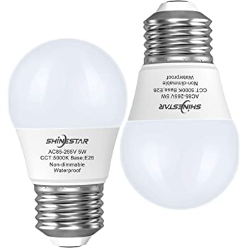 SHINESTAR 2-Pack LED Refrigerator Bulbs 40W 120V, Daylight 5000K, E26 Base A15 Appliance Light Bulb for Fridge, Freezer, Waterproof, Non-dimmable