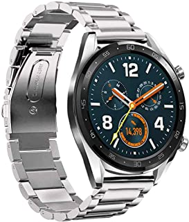 @ccessory Band Compatible with Huawei Watch GT 2 46mm, 22mm Stainless Steel Quick Release Strap for Huawei Watch 2 Classic/GT Sport /Classic Smartwatch (Silver)