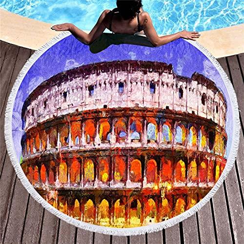 Toalla De Playa De Microfibra, Alfombra De Playa Redonda Absorbente De Secado Rápido Y Alfombra De Picnic, Patrón De Impresión Digital 150 * 150cm