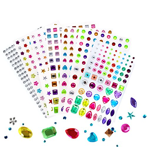 Self-Adhesive Multicolor Rhinestone Sticker Bling, for Face, Makeup, Carnival, Crafts, Scrapbooking Embellishments Crystal Gem Stickers, Assorted Size, 7 Sheets 820 Pieces