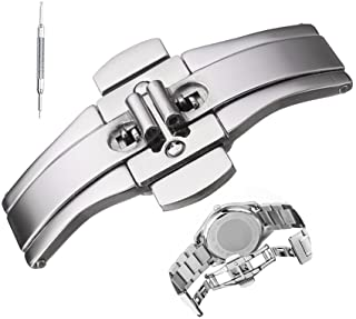 Stainless Steel Butterfly Buckle Push Button Folding Deployment Clasp for Steel/Ceramic Watchband
