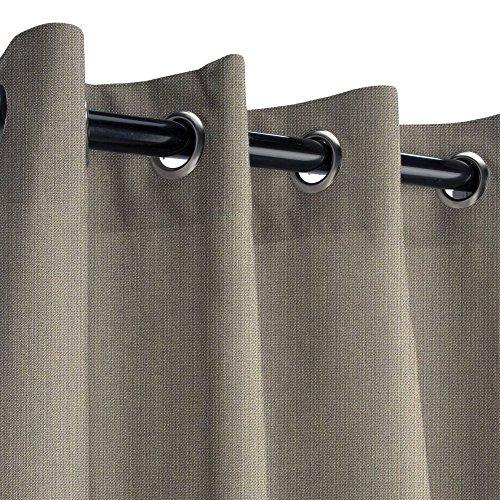 Sunbrella Spectrum Graphite Outdoor Curtain with Nickel Grommets 50 in. Wide x 120 in. Long