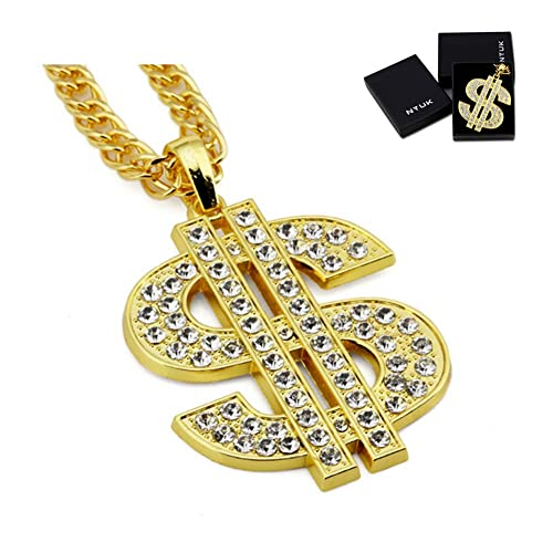 NYUK Gold Chain for Men with Dollar Sign Pendant Necklace 8f68114aac