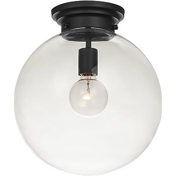 Globe Electric Portland 1-Light Semi-Flush Mount Ceiling Light, Black Finish, Clear Glass Shade 65954