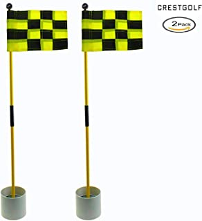 2018 Detachable Portable Backyard Practice Golf Hole Pole Cup Flag Stick, Golf Putting Green Flagstick 2 Sets Count (2cups, 2flags and 2poles)