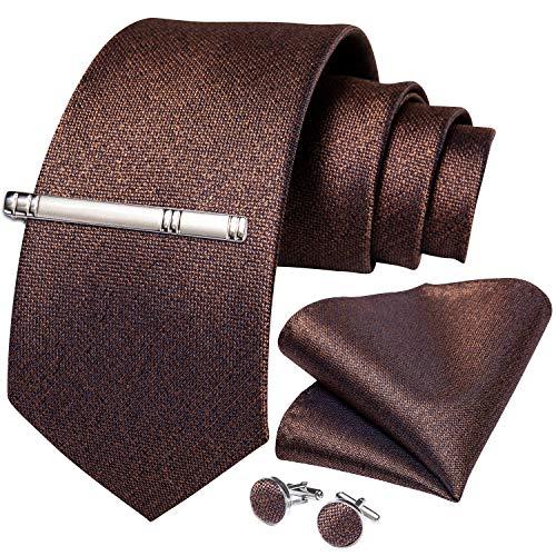 DiBanGu メンズ ネクタイ 無地 ブラウン シルク ネクタイ チーフ セット ビジネス フォーマル