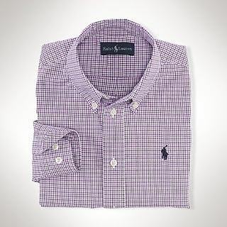 ラルフローレン チェック  シャツ 刺繍  パープル 並行輸入品 Ralph Lauren