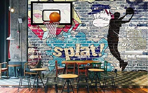 Tapete 3D Fototapete Basketball-Graffiti-Backsteinmauer Tapeten 3D Effekt Vliestapete Moderne Wanddeko