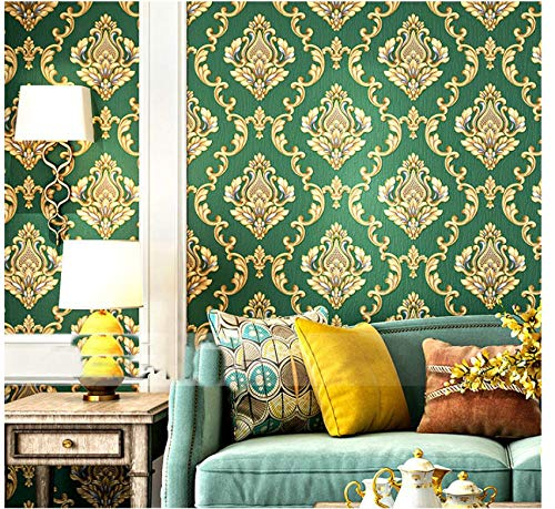 No Tejido Pared Papel Gofrado de Damasco 3D papel de pared Verde oscuro dormitorios salón hotel fondo de Adecuado para decoración minimalista moderna TV - 0.53 x 9.5m