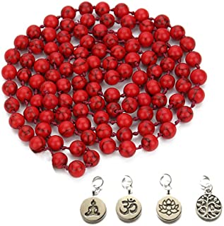 BALIBALI 8MM 108 Mala Beads Necklace Semi-Precious Gem Stones Tibet Tibetan Mala Meditation Necklace 108 Hand Knotted Japa...
