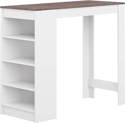 Temahome Aravis Table Bar Avec Rangements, Panneaux de Particules Mélaminés, Blanc/Béton, 115 X 50 X 102,7 cm (LxPxA)
