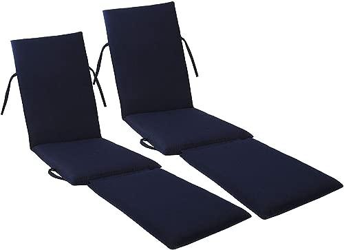kingrattan.com Made in USA Steamer Chair Cushion Sunbrella Canvas Navy #5439 (2-Pack)
