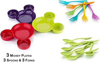 Yellow Leaf Products Unbreakable Eco-Friendly Children's Mickey Minnie Shaped Serving Food Plate + FREE Spoon & Fork | Mic...