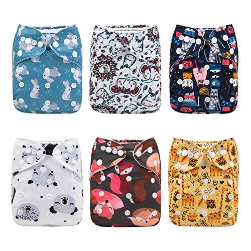 ALVABABY Pack 6pcs Pañales de tela ajustables y lavables de bolsillo + 12 insertos 6DM19-ES