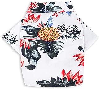 CheeseandU Pet Hawaiian Shirt, NewStyle Summer Beach Vest Short Sleeve Pet Clothes Dog Top Floral Pineapple T-Shirt Hawaiian Tops Dog Jacket Outfit Beach Apparel for Small Dogs Breeds Cats
