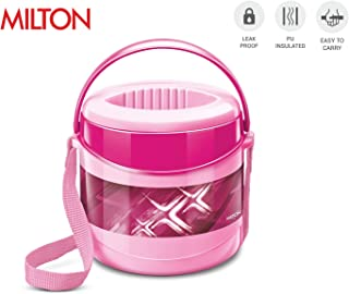 Milton Econa Insulated Lunch Box with 2 Stainless Steel Containers 100% Leak Proof, 16 Oz (Pink)