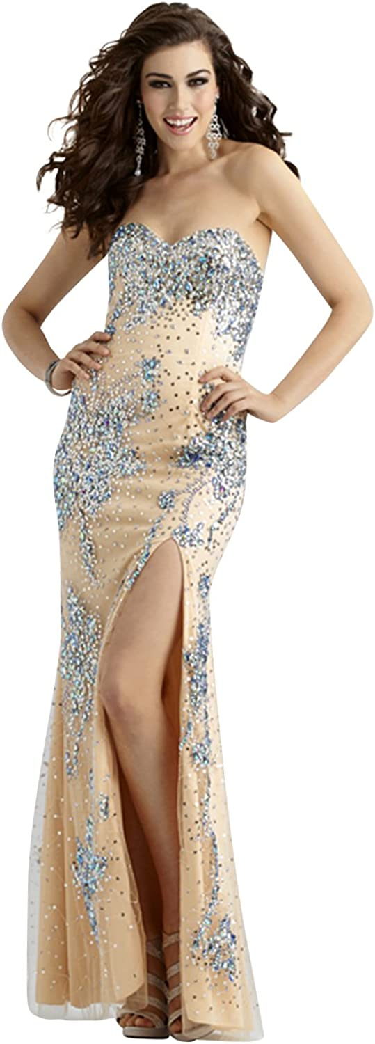 Clarisse Strapless Long Beaded Couture Prom and Pageant Dress 4320
