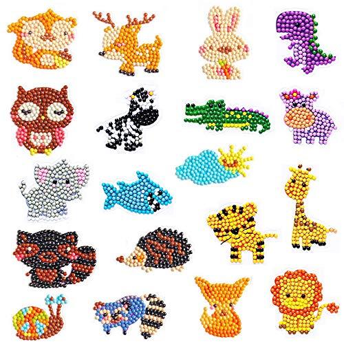 SUNSK Kit de Pegatinas de Diamantes para niños Animal Pintura de Diamantes Pegatinas Pintar Apto para Principiantes 19 Piezas