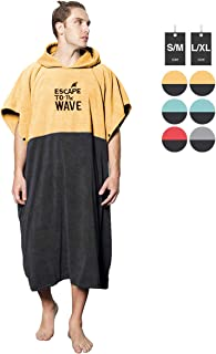 Vulken Extra Large Yellow Thick Hooded Beach Towel Changing Robe. Surf Poncho Men for Easy Change in Public. Quick Dry Microfiber Towelling for The Beach, Pool, Lake, Water Park. L/XL