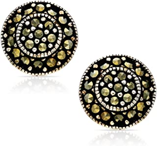 BLING BIJOUX Bohemian Vintage Crystal Round Earrings Never Rust 925 Sterling Silver Natural and Hypoallergenic Studs For W...