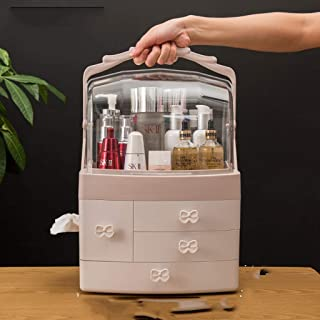 LPFMM Cosmetic Lipstick Dust Mask Storage Box Home Rotation Table Frame Portable Artifact Drawers Cosmetic Storage Box (Color : Gray)