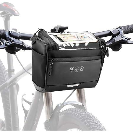 Maxjaa Borsa per Manubrio da Bicicletta Impermeabile da 3,5L Borsa per Tubo Anteriore Superiore con Motivi Riflettenti Tasca per Schermo Trasparente Impermeabile e Tracolla Rimovibile