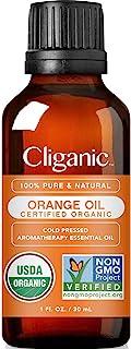 Cliganic USDA Organic Sweet Orange Essential Oil, 1oz - 100% Pure Natural for Aromatherapy Diffuser | Non-G...