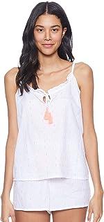 Matalan Printed Spaghetti Straps V Neck Top with Hot Shorts Pajama Set for Women