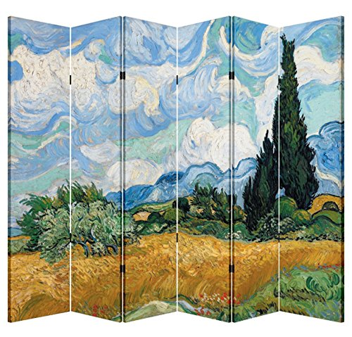 Best Price! Vincent Van Gogh Wooden Folding Screen Canvas Privacy Partition Room Divider Paintings (...