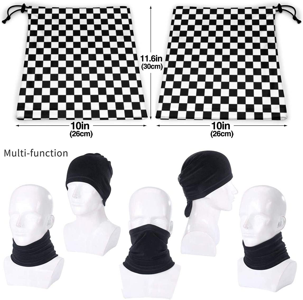 CLERO& Scarf Fleece Neck Warmer Black and White Squares Windproof Winter Neck Gaiter Cold Weather Face Mask for Men Women