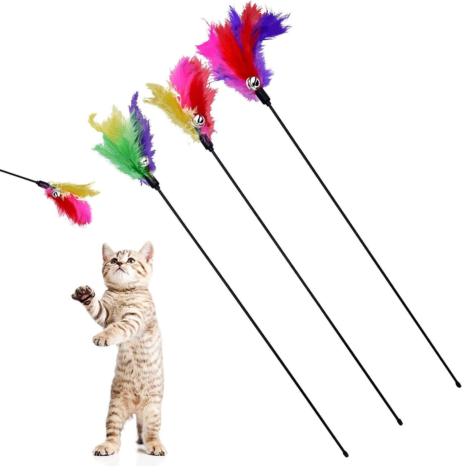 BINGPET Cat Toys Color Vary Feather Teaser Wand and Virginia Beach Mall fo Max 52% OFF Exerciser