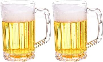 Ruesious Jarras de Cerveza clásicas de 2 Piezas, jarras de Cerveza, jarras de Cerveza - Jarras de Cerveza de plástico acrílico de 1 Pinta - Anti-caída, Resistencia a Altas temperaturas